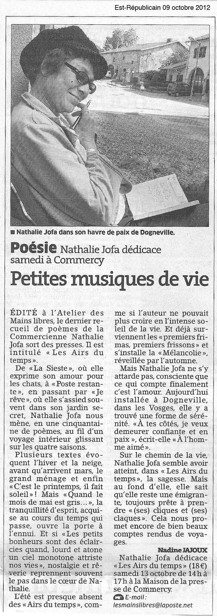 Article paru dans l'Est Républicain dans * JOFA Nathalie nat