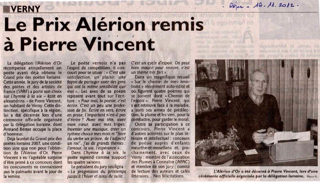 Article paru dans le Républicain Lorrain du 16/11/2012 dans Coupures de presse er-004